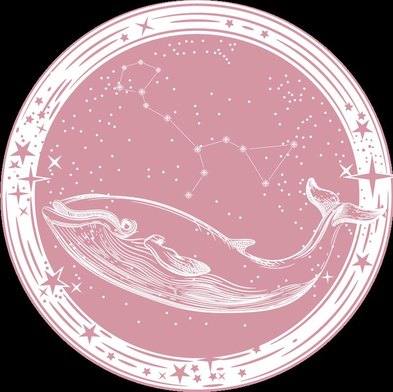 TenStickers. Vinylteppich Kinder Rosa wal mit sternen kinder vinyl teppich. Atemberaubender rosa wal vinyl teppich perfekt für das schlafzimmer ihres kindes! Einfach anzuwenden, erstaunlich anzusehen und sehr gut geschützt.