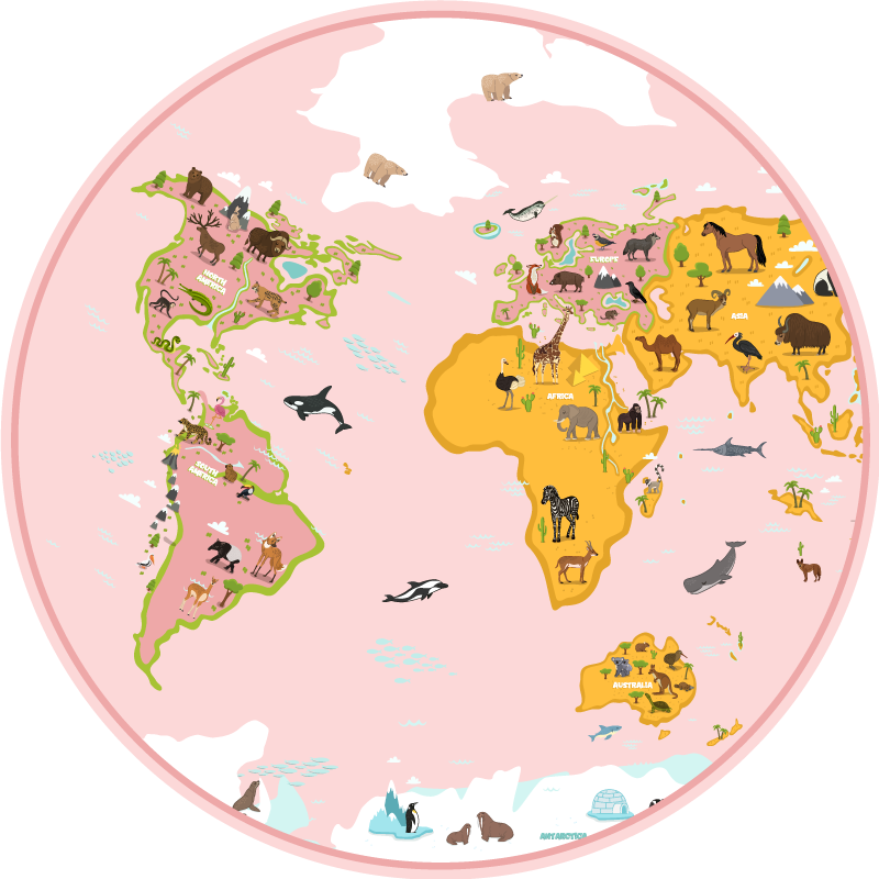 TENSTICKERS. 子供のための円形のピンクの世界地図ビニールラグビニールマップラグ. 子供たちが寝室を飾ることで国や動物の名前を学ぶための素晴らしいピンクの世界地図と動物のビニールラグ。