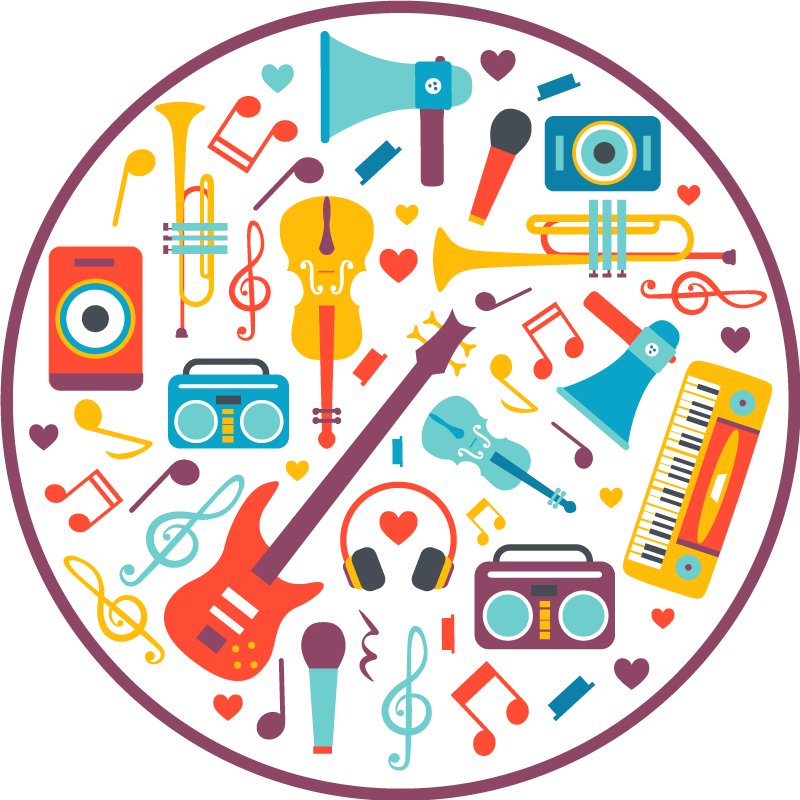 TenStickers. Musical instruments teenage rugs for bedrooms. This teen vinyl rug design features a range of musical instruments including a guitar, trumpet, keyboard, boom box and microphone.