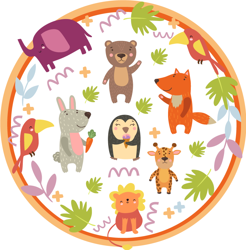 TenStickers. Cute cartoon zoo animals animal mat. This animals vinyl rug will decorate your kid's room and will make your child happy. It is made of high quality so add it to your cart!