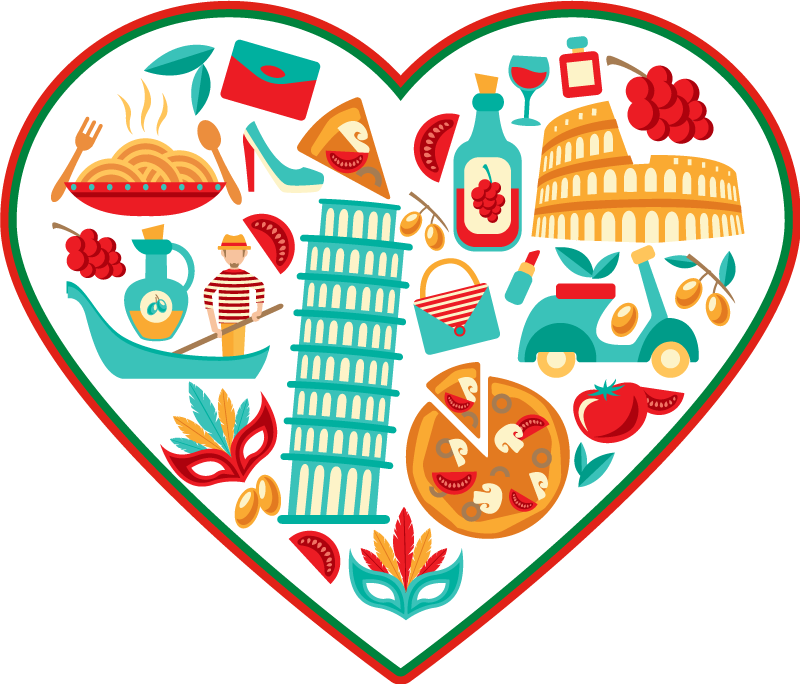 TenStickers. italian most famous icons contemporary rugs. Decorative conic food floor vinyl rug for food lovers. A heart shape dinning room vinyl carpet hosting various iconic food features.