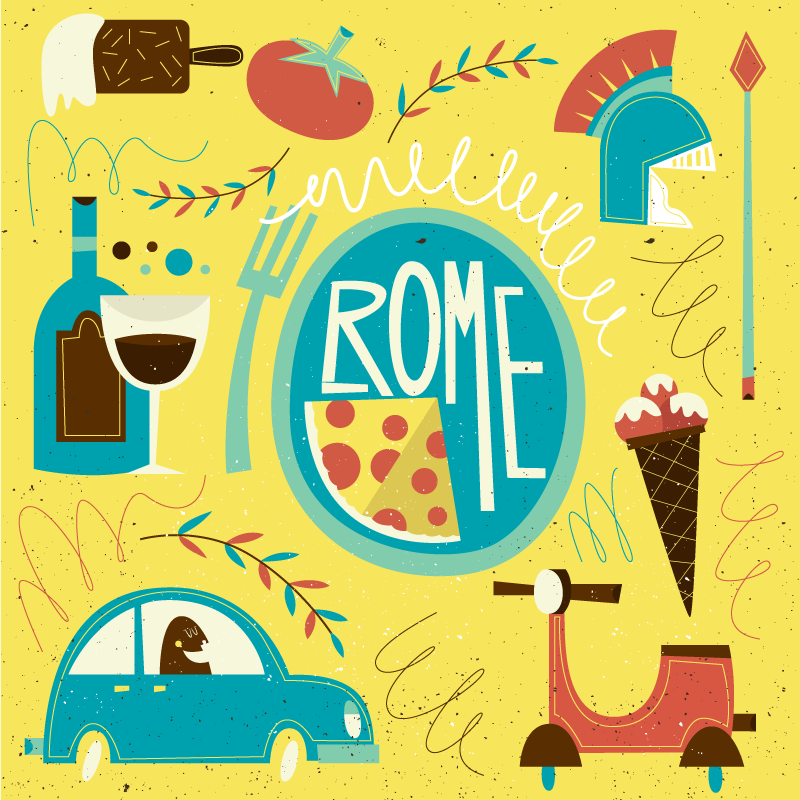 TenStickers. Funny rome vinyl map rug. Iconic featured vinyl carpet design that depict Rome. This design is nice to place on the floor of children bedroom.  It is original and durable.