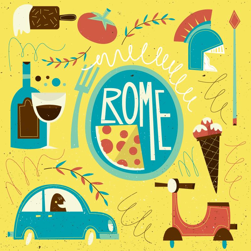 TenStickers. Wereldkaart vinyl vloerkleed Grappig rome. Iconisch Rome elementen vinyl tapijt ontwerp dat Rome uitbeeldt. Dit ontwerp is leuk om op de vloer van de kinderkamer te plaatsen. Het is origineel en duurzaam.
