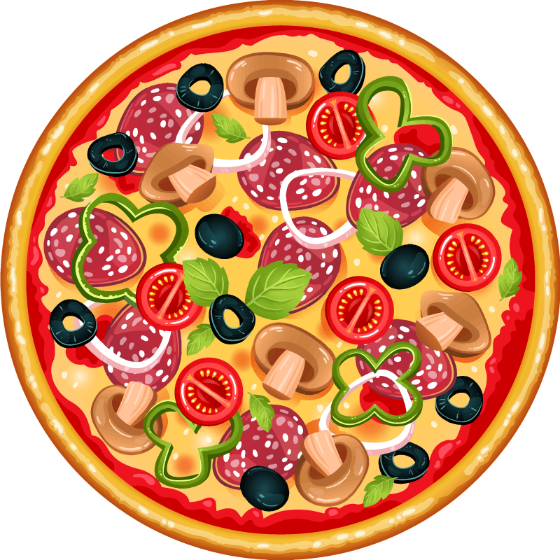 TenStickers. Italy Pizza circular mat. Oh! what an amazing iconic food vinyl carpet for pizza lovers. A design to display your love for pizza, it is  designed  in a realistic appearance.
