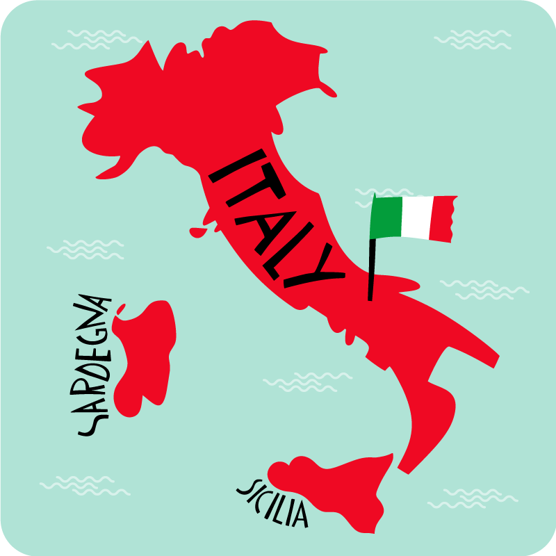 TenStickers. coloured italy map rug. Decorative coloured Italy map rug. Suitable carpet for any room in the home, it can be placed on a living room floor, bedroom and hallways.
