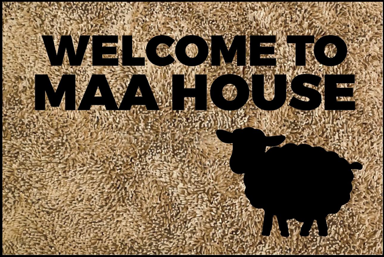 Tenstickers. Velkommen til maa hus skreddersydde tepper. Dette inngangsvinylteppet har teksten 'velkommen til maa house' med silhuetten av en sau ved siden av. Flere størrelser tilgjengelig.