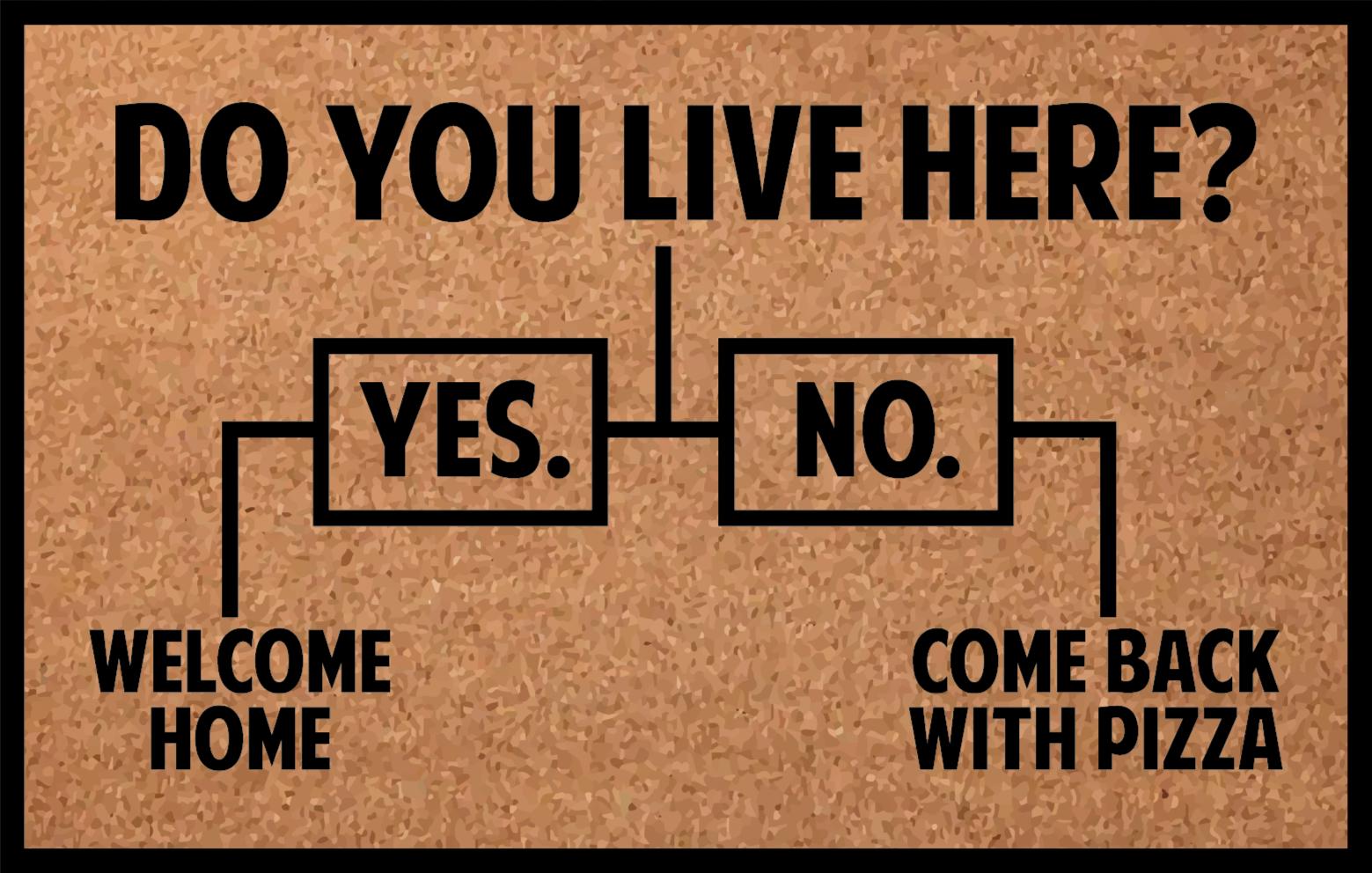 """TenStickers. Dywan winylowy Come back with pizza. Ten zabawny wzór dywanika wejściowego zawiera tekst """"czy tu mieszkasz? """" z dwiema liniami prowadzącymi do tak i nie. Mamy wiele dostępnych rozmiarów."""
