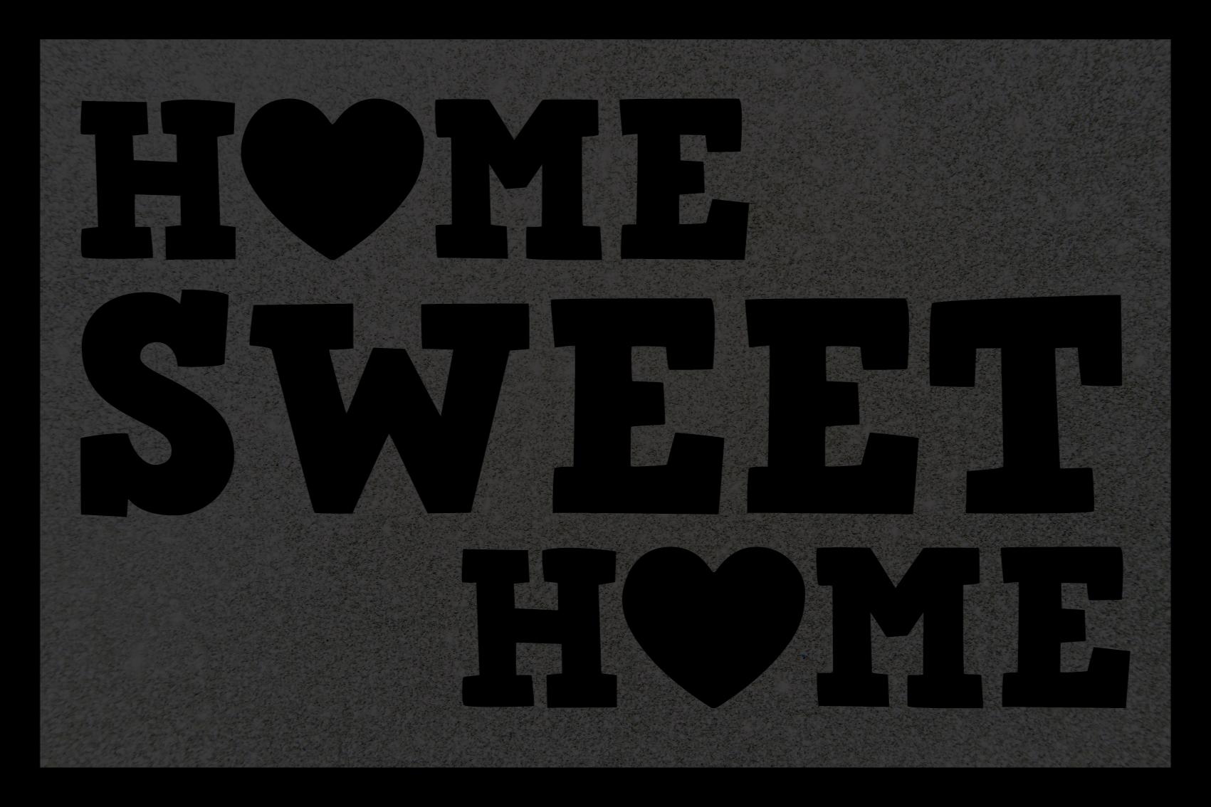 TenStickers. Lar doce lar com tapetes feitos sob medida. Este brilhante produtode tapete de vinil apresenta o texto 'lar doce lar' com o 'o' em casa alterado para um coração. Alta qualidade.