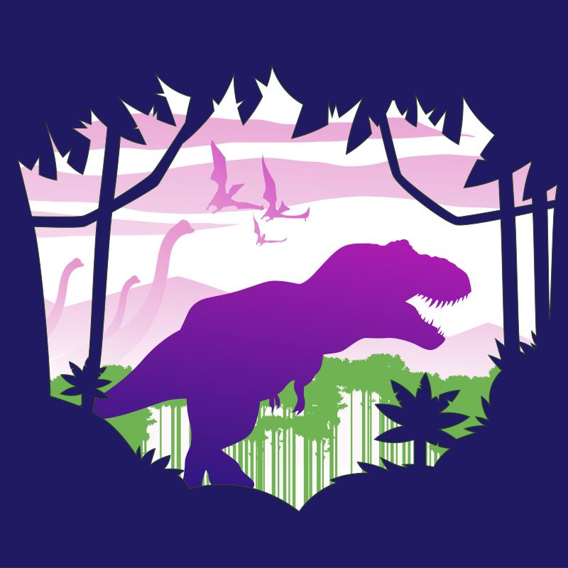 TenVinilo. Alfombra vinílica infantil paisaje jurásico lila. Esta alfombra vinílica infantil de dinosaurio presenta la silueta de un dinosaurio morado caminando por la jungla ¡Compra online!
