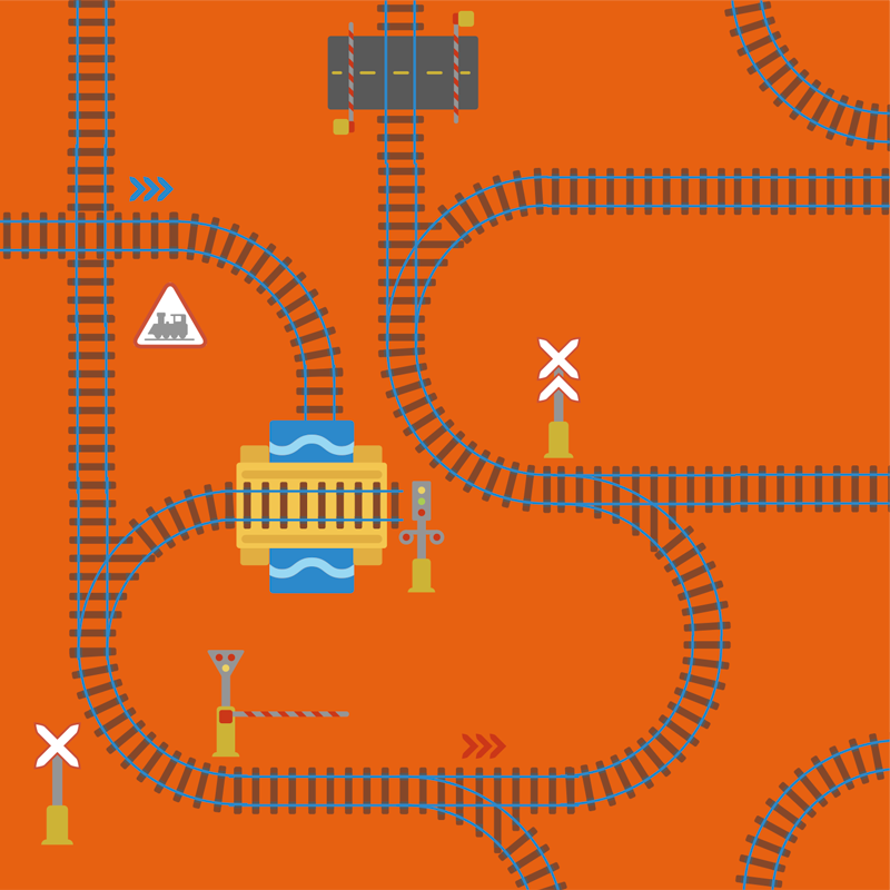 TenVinilo. Alfombra vinílica infantil vías tren naranja. Alfombra vinílica para niños con vías del tren con una estación en el centro. Diseño apto para jugar sobre el ¡Descuentos disponibles!