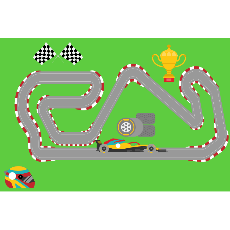 TenStickers. Covoraș de curse pentru mașini de curse. Acest design fantastic prezintă o pistă de mașini de curse înconjurată de câmpuri verzi și cu un trofeu. Vinil anti-bule. La comanda.