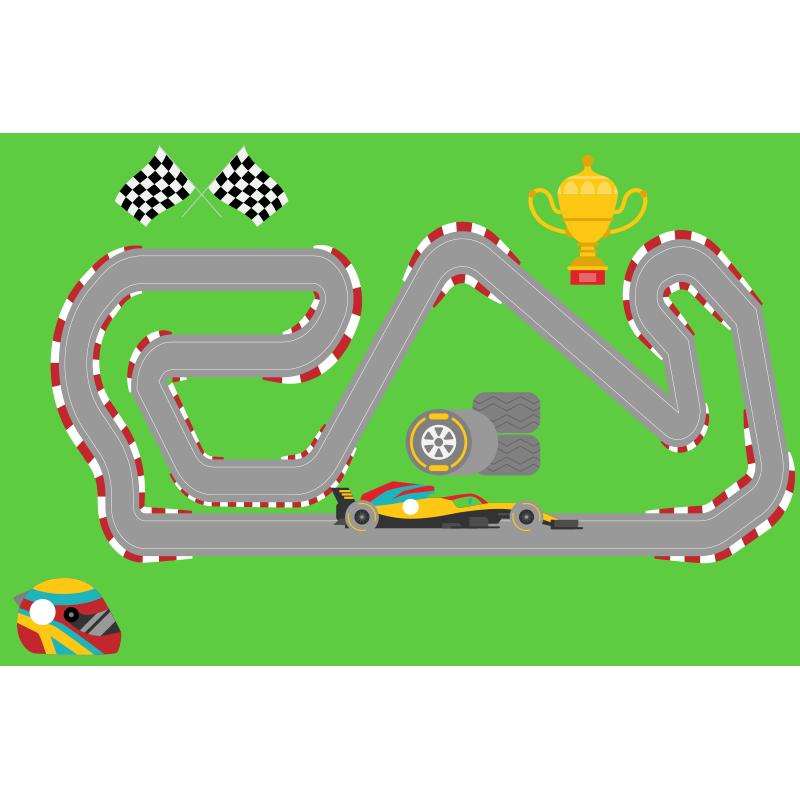 TenStickers. 赛车运动垫. 这个奇妙的设计采用了一条赛车跑道,周围环绕着绿色的田野和奖杯。防气泡乙烯基。定制。