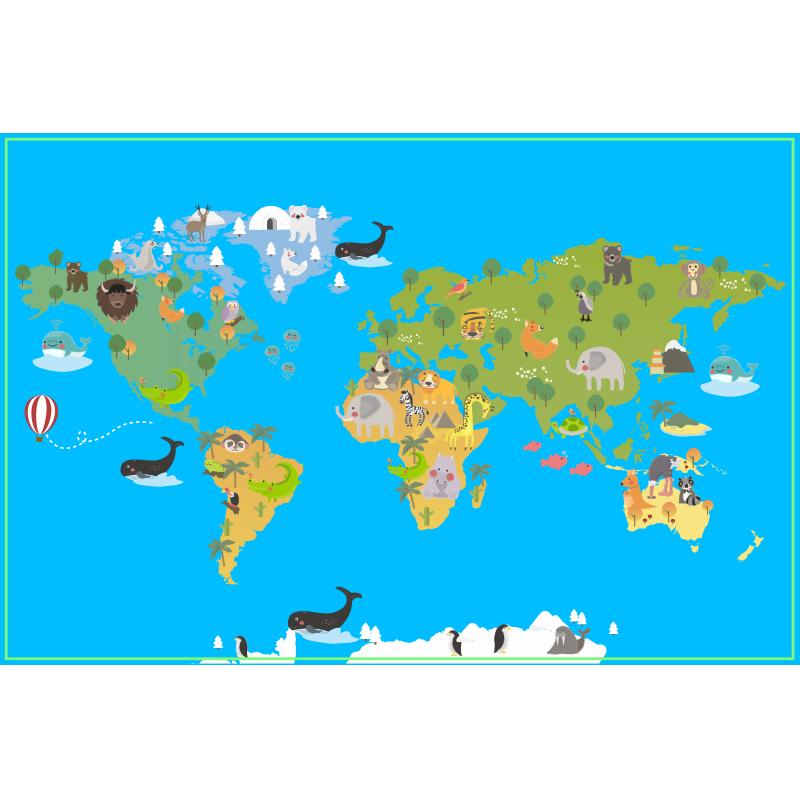 TenVinilo. Alfombra vinílica mapamundi infantil con fauna. Alfombra vinílica infantil de mapa del mundo con maravillosos animales de dibujos animados en cada país. Fácil de mantener ¡Envío express!