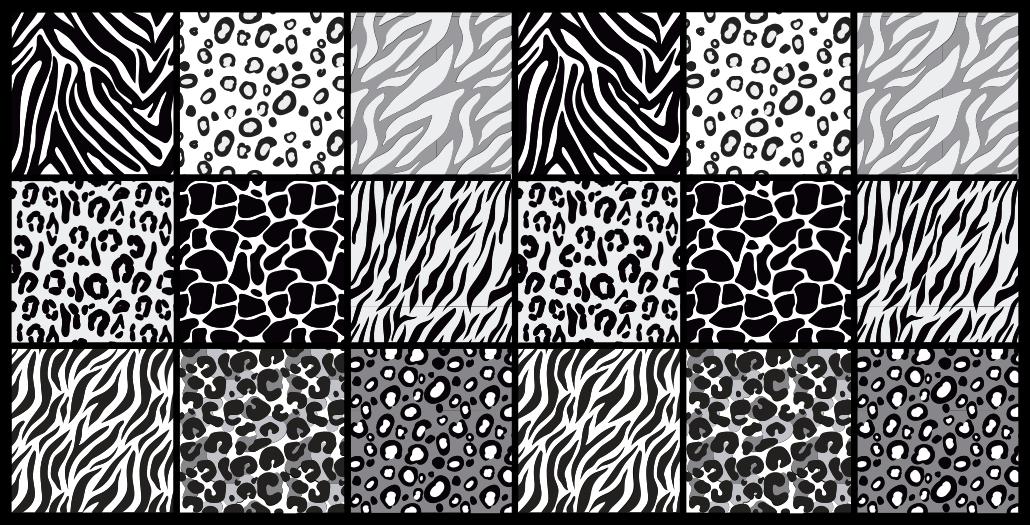 TenVinilo. Alfombra vinilo animal print estampados gris. Una alfombra de vinilo animal print en blanco y negro diferente para decorar tu casa. Tiene los diseños de una cebra, leopardo y otros más.