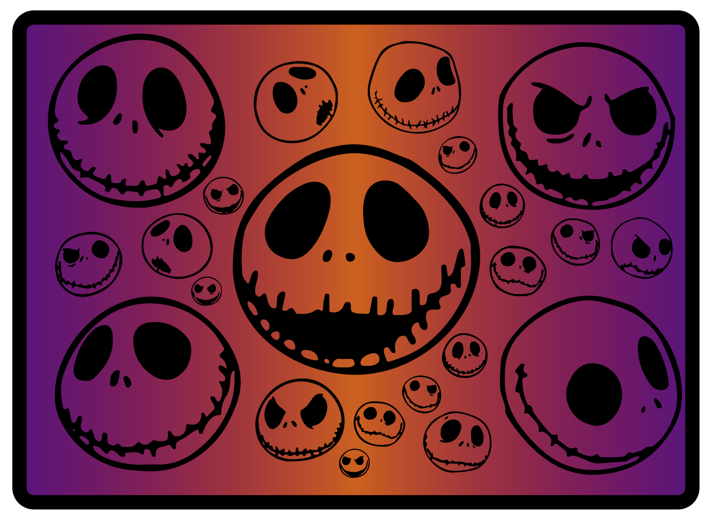 TenVinilo. Alfombra vinílica recibidor morada Halloween. Alfombra vinílica recibidor de Halloween que presenta varias caras espeluznantes de la película clásica de Tim Burton ¡Compra online!