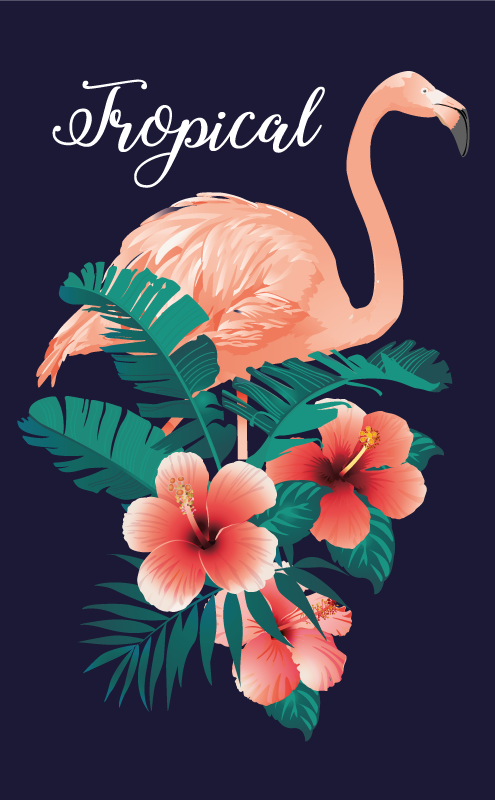 TenVinilo. Alfombra vinilo animales flamenco tropical . Una alfombra vinilo animales con flamenco y flores tropicales sobre un fondo negro perfecta para tu salón ¡Descuentos en tu primer pedido!