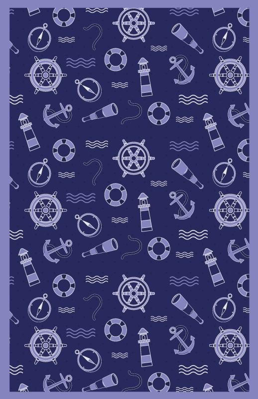 TenStickers. tapis vinyle ultra moderne Ancres et cordes. Beau tapis en sticker pour le salon. La conception contient divers éléments nautiques de l'ancre, de la boussole, du phare et plus encore.