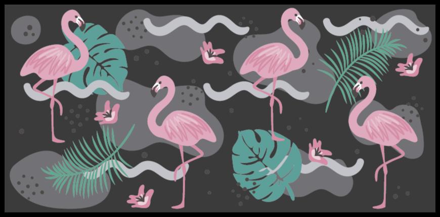 TenStickers. tapis vinyl forme animal Noir et flamants roses. Superbe tapis en sticker flamant rose qui rendra vos sols tellement plus amusants! Choisissez la bonne taille pour vous et personnalisez vos sols.