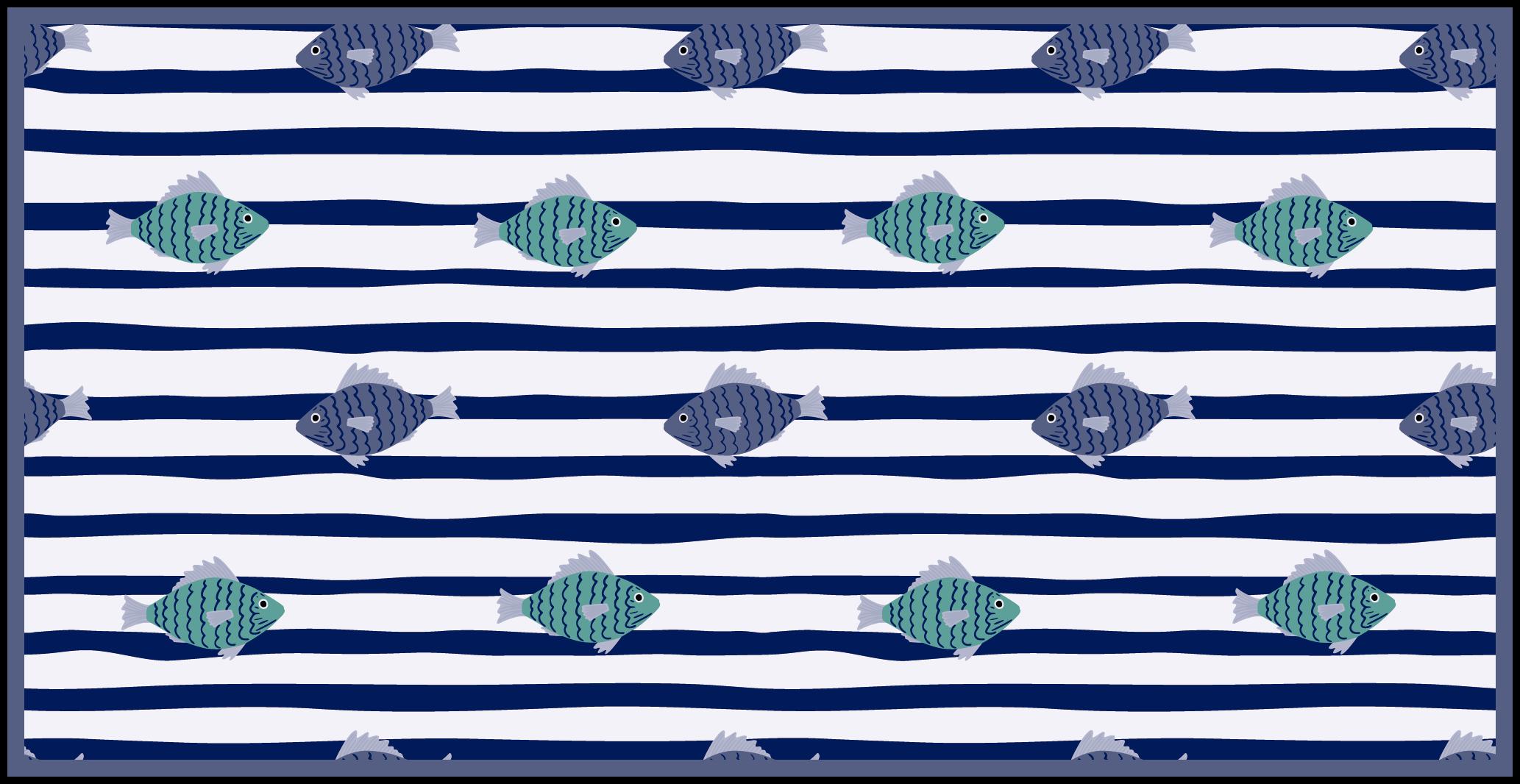 TenStickers. Dywan winylowy w różne ryby. Podłogi laminowane do łazienki o tematyce morskiej, które będą wyglądać wyjątkowo w Twojej łazience! Wybierz swój rozmiar i zdobądź dekorację już teraz.