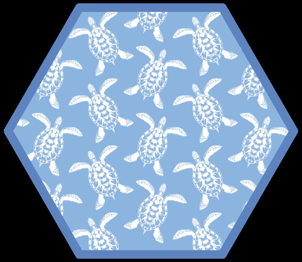 TenStickers. Dywan winylowy Niebieskie żółwie. Idealna podłoga winylowa z motywem morskim, która doda wyjątkowego charakteru Twojej łazience! Spersonalizowane maty specjalnie dla Ciebie.