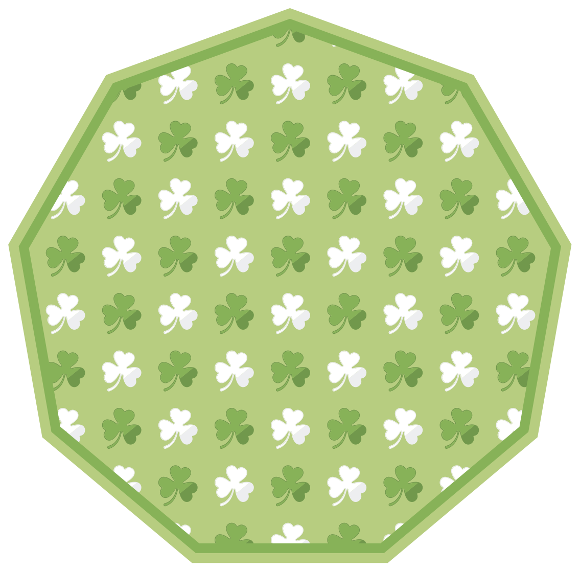 TenStickers. Green and white shamrock stripes  flower rug. On this beautiful stripes vinyl flooring there is a fantastic shamrock pattern in white and green. The product is available in different sizes.