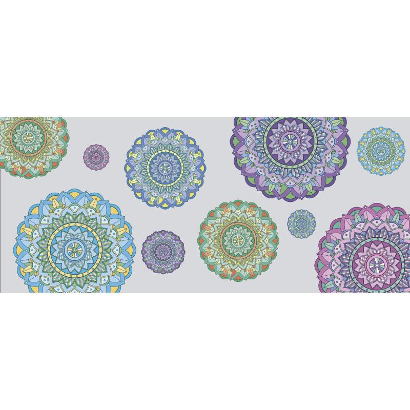 TenStickers. Vinylteppich Schlafzimmer Mandalakreise. Voller Farben mandala Design vinyl teppich, um den räumen in Ihrem haus einen einzigartigen stil zu verleihen. Es kann sehr lange dauern und kann waschbar sein!