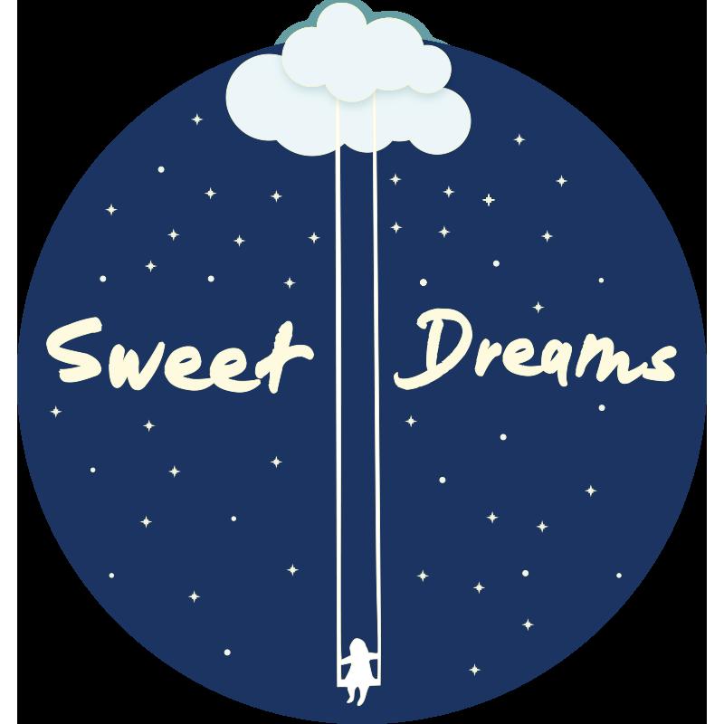 """TenVinilo. Alfombra vinilo con nombre de dulces sueños. Alfombra vinílica infantil con nombre y la frase """"dulces sueños"""", con estrellas y de forma redonda. Elige las medidas ¡Envío exprés!"""