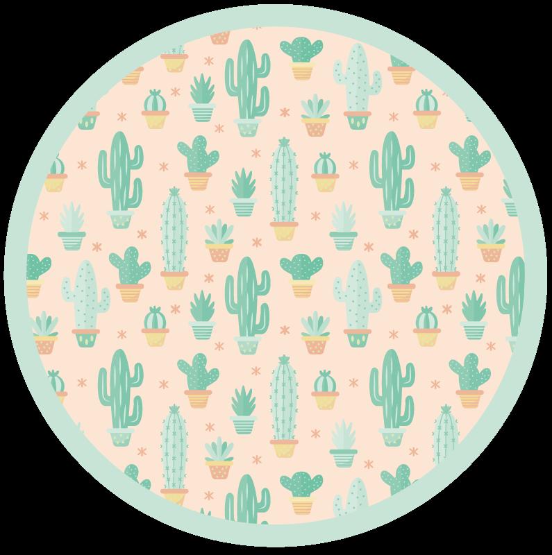 TenVinilo. Alfombra vinilo infantil cactus nórdicos. Esta alfombra vinilo infantil natural para niños con cactus y con forma redonda. Diseño nórdico original y producto resistente