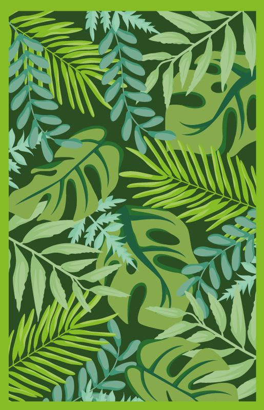 TenStickers. Jungle leaves flower rug. Feel at one with nature when you purchase this jungle leaves vinyl rug! With +10,000 satisfied customers you are in safe hands.