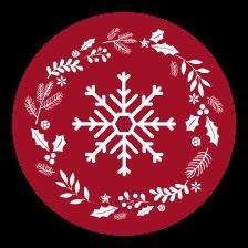 TenVinilo. Alfombra vinilo redonda roja con copo. Alfombra vinilo redonda navideña con un patrón de plantas de navidad y un copo de nieve con fondo rojo. Elige medidas ¡Envío exprés!