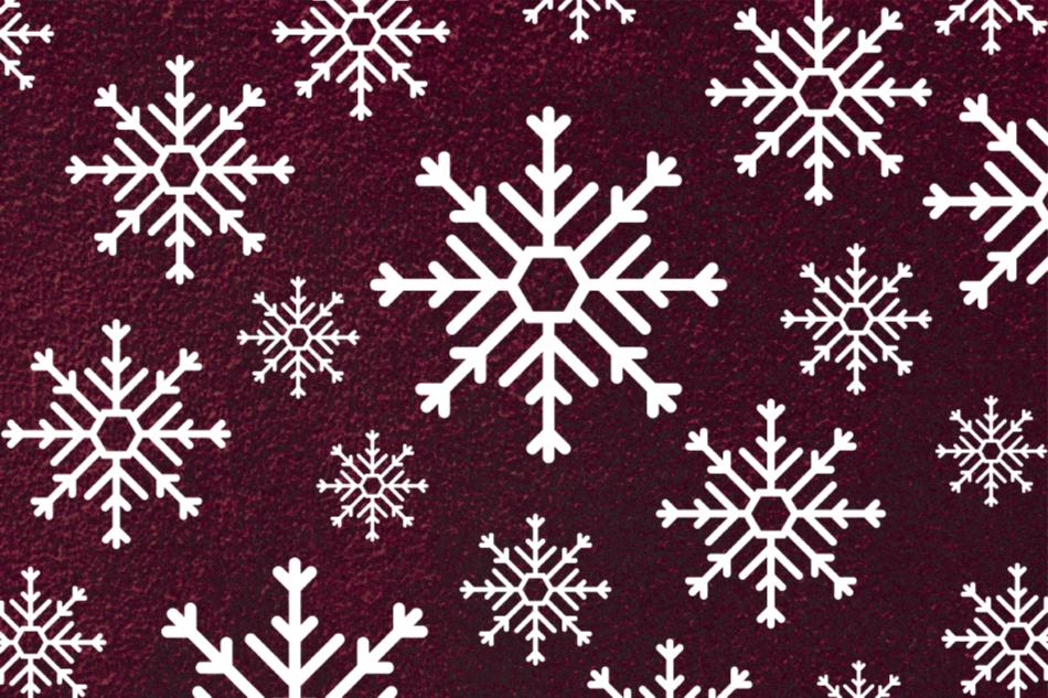 TenStickers. Tappeto in vinile natalizio con fiocchi di neve rossi e bianchi. Tappeto natalizio in vinile che presenta vari fiocchi di neve bianchi simmetrici su un incantevole sfondo rosso scuro. Realizzato con i migliori materiali vinilici di qualità.