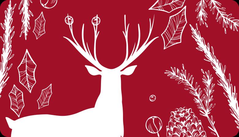 TenStickers. Rood rendier in bos kersttapijt. Laat uw bezoeker versteld staan van u decoratie vaardigheden met dit rendier en andere elementen vinyl tapijt. Het is gemaakt van hoge kwaliteit. Levering aan huis