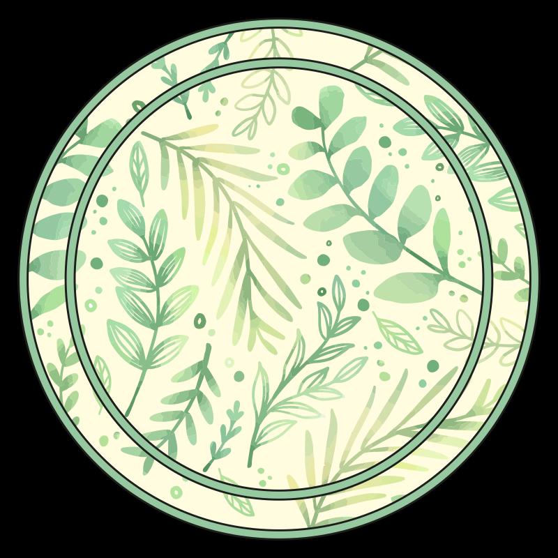 TenStickers. Vinylteppich Pflanzen Kreisblätter. Runder Vinyl Teppich mit blättern. Perfekte dekoration für Ihr schlafzimmer oder jedes andere interieur. Leicht zu reinigen und zu lagern. Aus bestem vinyl auf dem Markt.