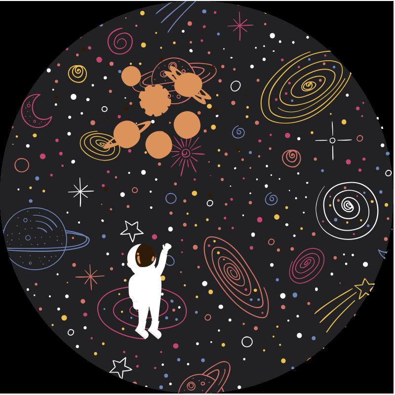 TenStickers. Tappeto in vinile stelle Schizzo di spazio colorato. Un tappeto rotondo in vinile con schizzo di spazio colorato a sfondo nero per decorare la stanza del tuo bambino con un prodotto di alta qualità che viene consegnato a casa tua!