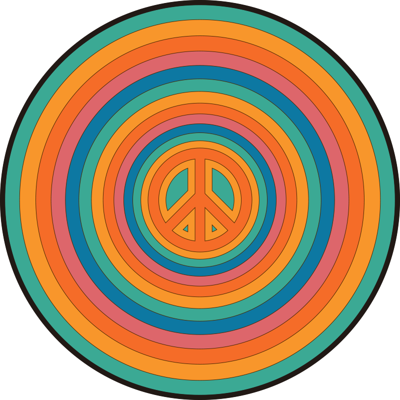 TenStickers. peace symbol circular mat. Colorful circles peace sign vinyl rug to give your house a relaxing environment with this product. Delivery to your front door!