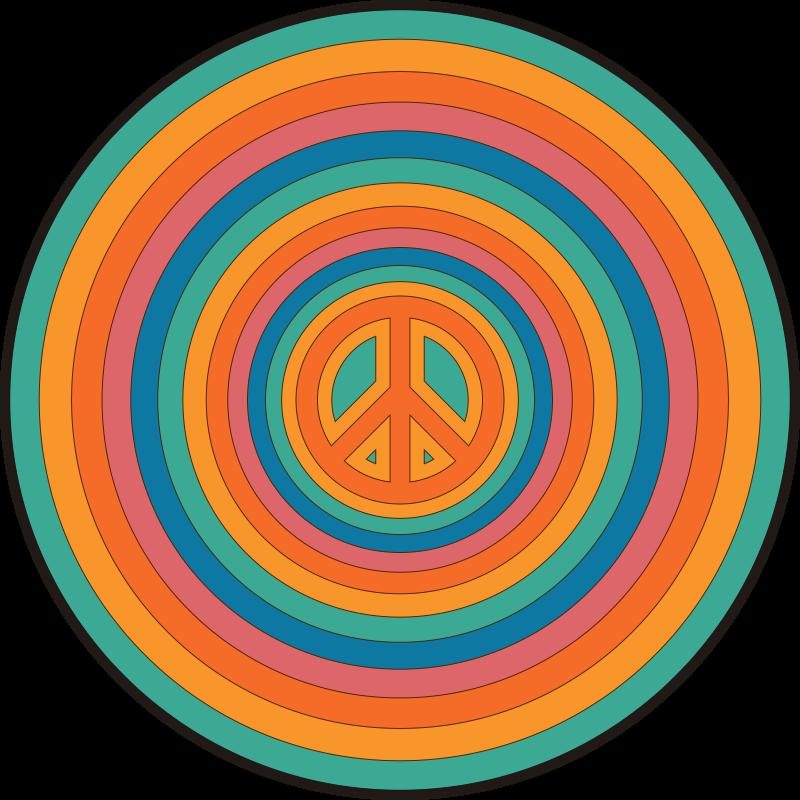 TenStickers. tapis rond Symbole de la paix. Tapis en sticker signe de paix cercles colorés pour donner à votre maison un environnement relaxant avec ce produit. Livraison à votre porte d'entrée!