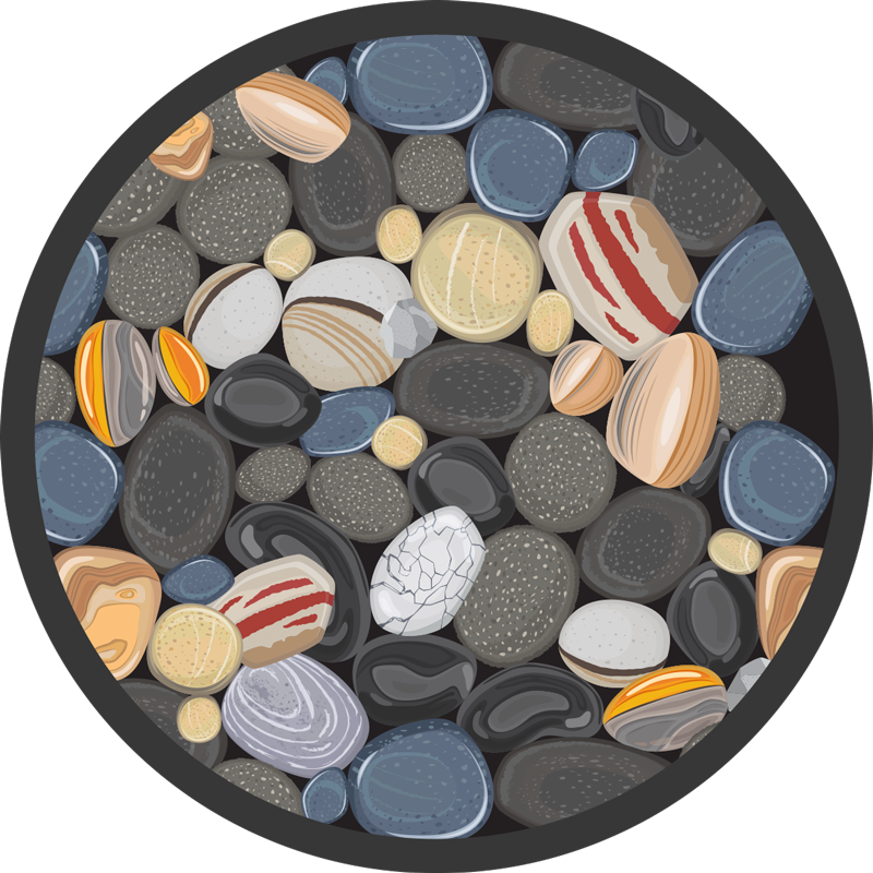 TenStickers. round stones stone flooring. Vinyl rug with round stones, perfect decoration for your dining room. It is made of high quality vinyl, easy to store and clean. Check it out!