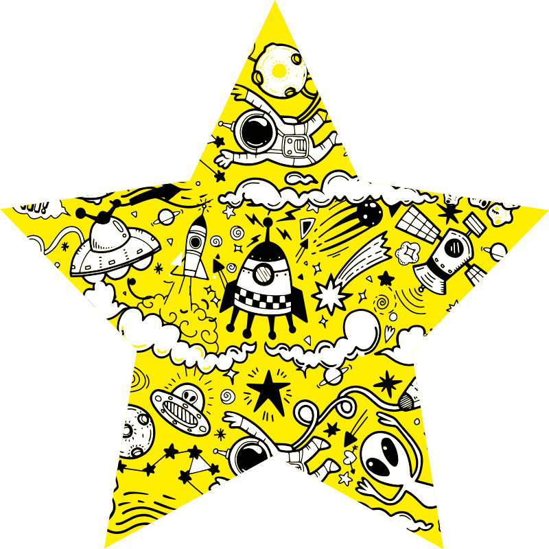 TenStickers. space doodles star carpet. Yellow doodles vinyk rug, perfect for decoarting your kids room. It is made of high quality vinyl which is durable and resistant to external factors.