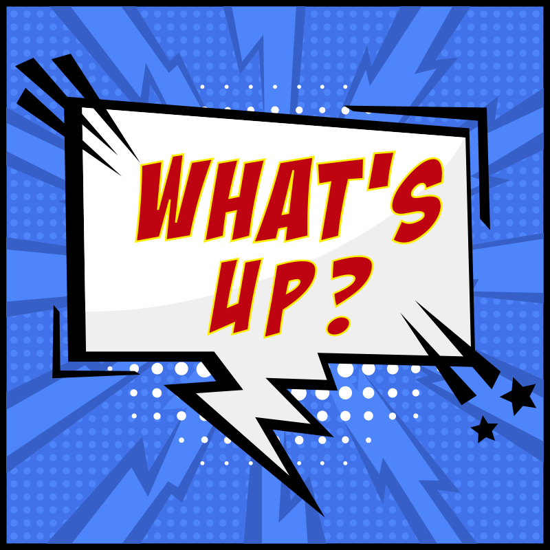 TenStickers. what's up comic bespoke rugs. A cool cartoons what's up text vinyl rug on a blue background to decorate your teenager's room and space. High quality product!