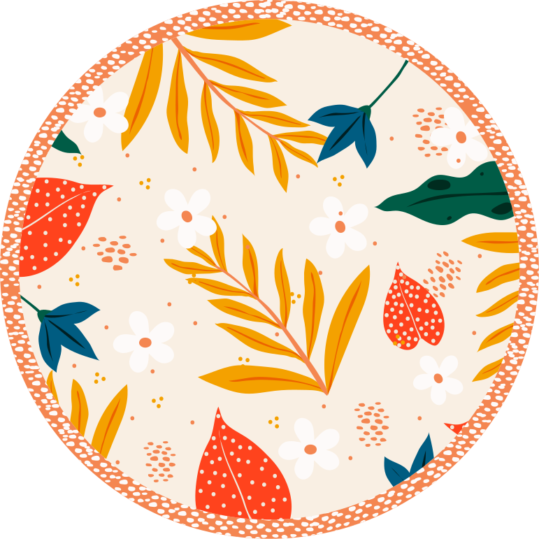 TenStickers. Spring Flowers flower rug. Wonderful round floral vinyl carpet with which you will have a home decoration that everyone will envy. Add it to your cart now to purchase it online!