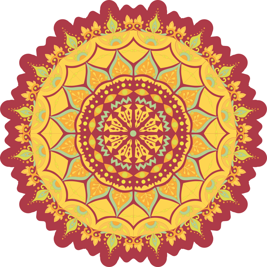 TenStickers. Summer in a Mandala mandala mat. Round mandala patterned vinyl floor carpet to improve your home in an amazing colorful and stylish way. It is original, durable and easy to clean.