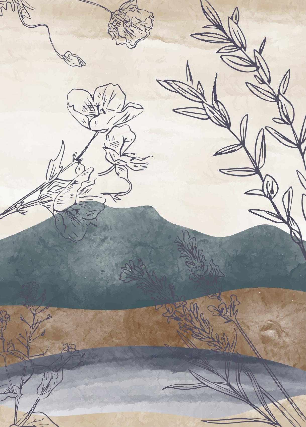 TenStickers. Covor pictat cu flori de natură. Un design simplu de covor de vinil cu temă naturală care conține desene de flori pe fundal de culoare moale. Este original, durabil și ușor de întreținut.