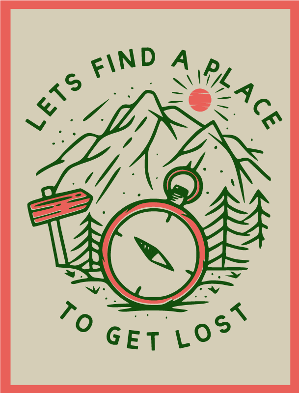 TENSTICKERS. 迷子になったビニールマップラグを手に入れよう. この素晴らしいビニールラグのデザインは、コンパスの森を囲む「迷子になる場所を見つけよう」というテキストを特徴としています。気泡防止ビニール。