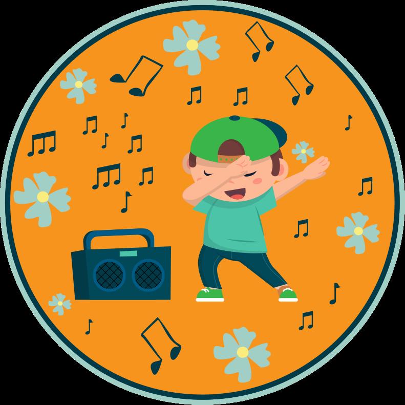 TenStickers. 孩子跳舞卧室地毯. 一个美妙的跳舞孩子和无线电立体声乙烯基地毯,上面放着蓝色的花朵和橙色背景上的音乐符号。用它来装饰孩子的房间。