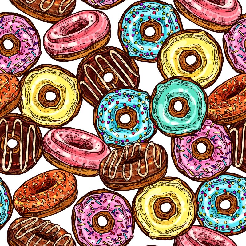 TenStickers. Vinyl vloerbekleding kinderen Donuts achtergrond. Een ander donuts design vinyl kleed op een witte achtergrond met een verscheidenheid aan kleuren en donuts smaak. Versier u huis of winkel met dit product.