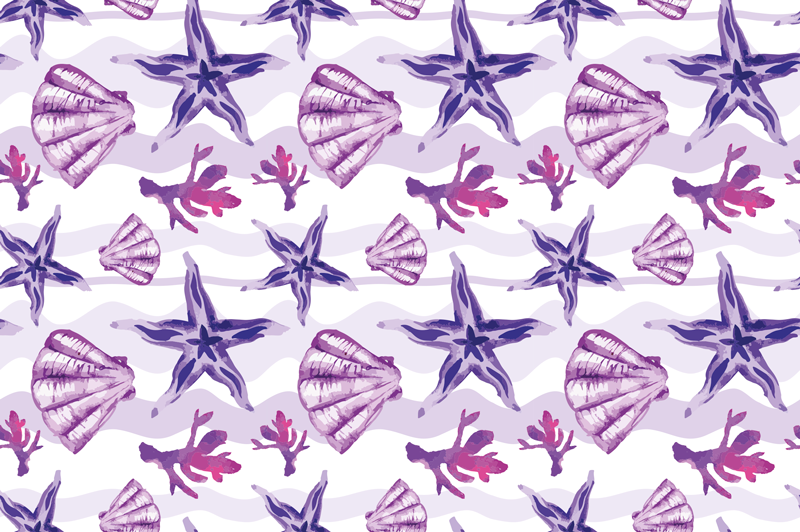 TenStickers. Purple Seashell and Starfish animal mat. A perfect seashell and starfish collection of vinyl rugs to give your house the perfect beach house style. Delivery to the front of your house!