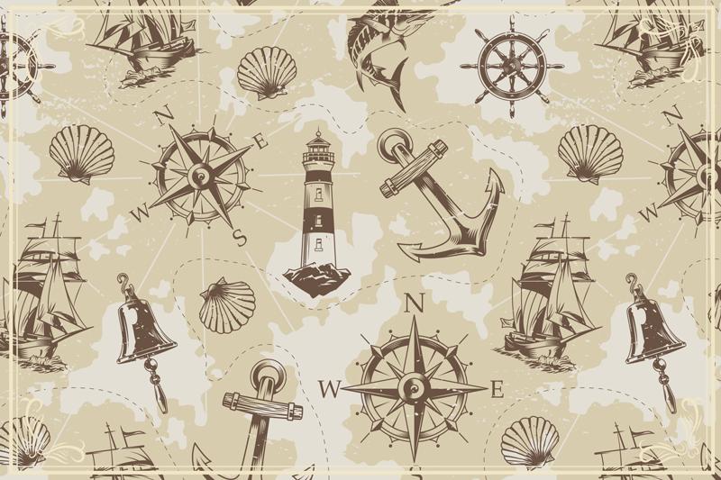 TenStickers. 海对象复古地毯. 这种珍贵的矩形地毯具有柔软的米色背景和各种海洋物体。相信我们的乙烯基的优良品质!