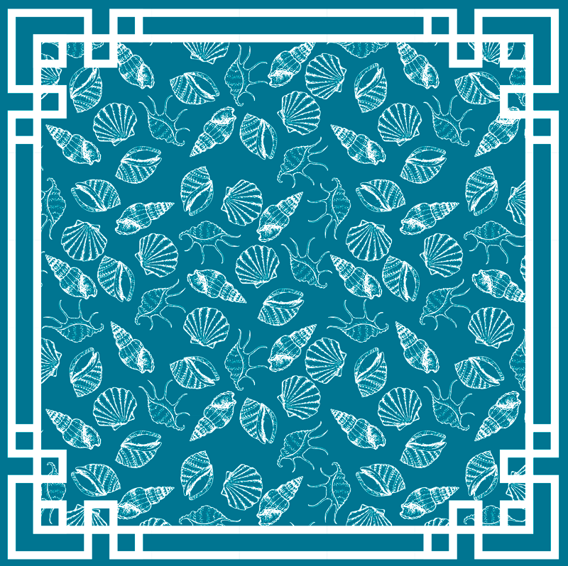 TenStickers. Seashell animals animal mat. Give your house that glam it deserves by decorating it with this blue background vinyl rug with various white seashells. it is very easy to clean.