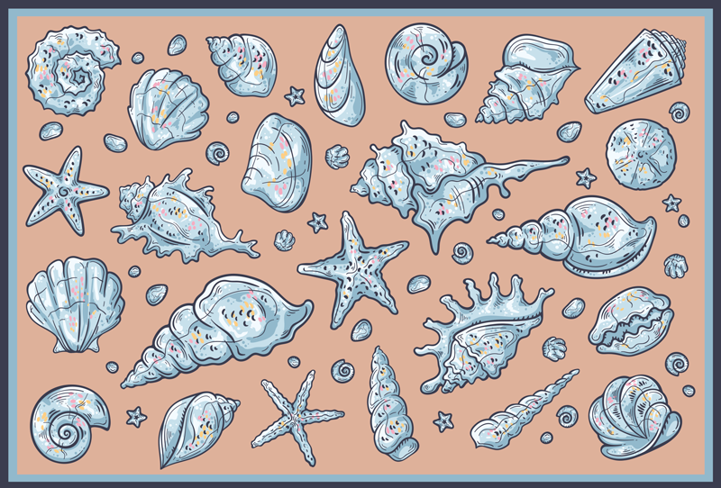 TenStickers. Concha do mar esboça tapete de animal. A concha fantástica esboça um produtoespecial caracterizado com várias conchas do mar em um fundo rosa. Produto de qualidade premium e muito resistente.
