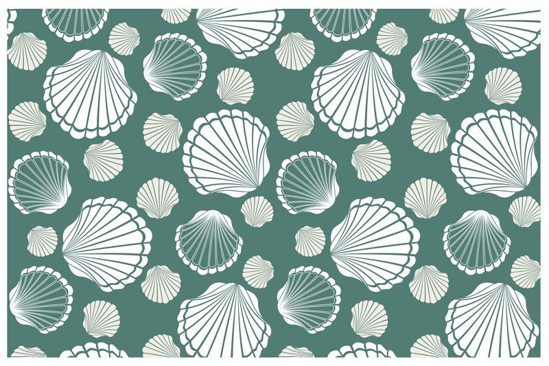 TenStickers. tapis vinyl forme animal Monde des coquillages. Ce superbe tapis en sticker rectangle est présenté avec divers coquillage blanc sur fond vert. Il est fabriqué à partir de sticker de la meilleure qualité.